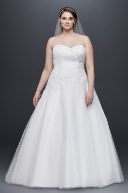 Strapless Tulle Ball Gown with Lace Applique Style 9WG3740