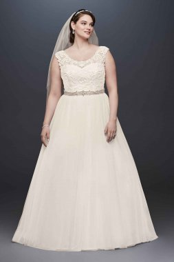 Tulle Ball Gown with Lace Illusion Neckline Style 9WG3741