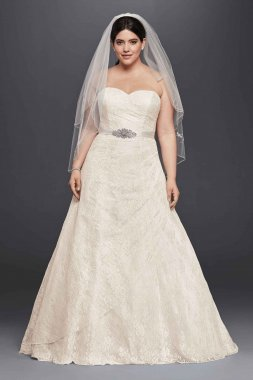 Plus Size Allover Lace Strapless Sweetheart Neckline Long A-Line Wedding Dress 9WG3805