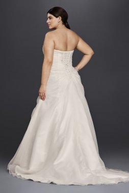 9WG3807 Plus Size A-line Organza and Lace Wedding Dress