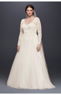 Plus Size Long Sleeve A-line Lace and Tulle Wedding Dresses 9WG3831 Pattern with Low Back