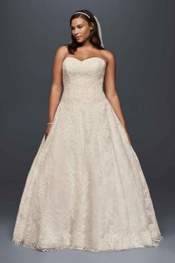 Pretty Strapless Sweetheart Neckline Allover Beaded Lace 9WG3841 Pattern Wedding Gowns