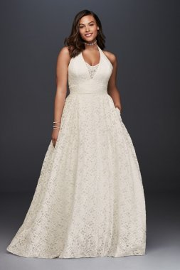 Plus Size 9WG3844 Halter Neck Lace Bridal Ball Gown