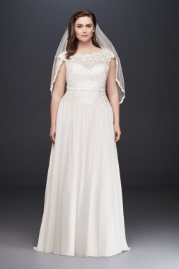 Plus Size 9WG3851 Style A-line Lace and Chiffon Bridal Gown
