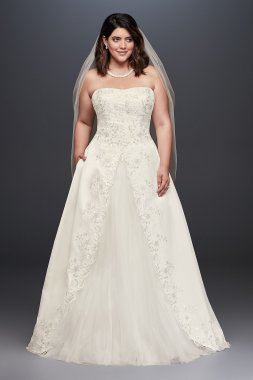 Plus Size Strapless Long Embroidered Satin Slit Bridal Ball Gown Style 9WG3863