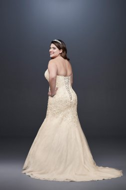 Beaded Lace Plus Size Mermaid Wedding Dress 9WG3909