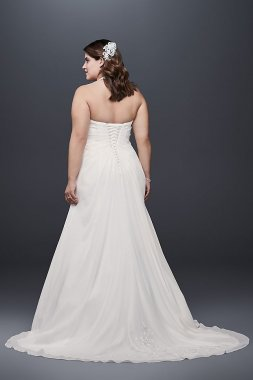 Chiffon Halter A-Line Plus Size Wedding Dress 9WG3918