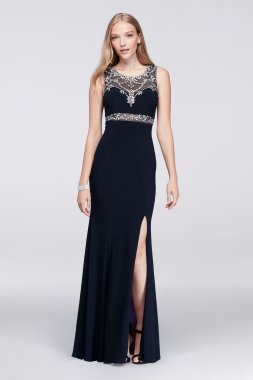 Beaded Embellished Long Side Slit Prom Dress with Illusion Bodice for Prom Party A17446D