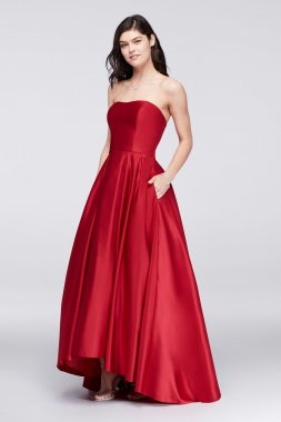A18224 Style Betsy & Adam Fashion High-Low A-line Satin Ball Gown for Prom