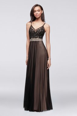 Graceful Long V Neck A-line Tulle and Lace Prom Dress with Beaded Waistband A18981
