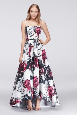 Charming New Style Strapless Sweetheart Neckline High Low Floral Satin Prom Gown A19127