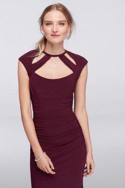 Stunning New Fashion A19136 Long Matte Jersey Dress with Unique Cutout Neckline