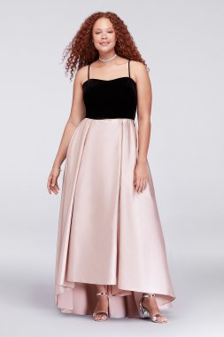 A7W Velvet and Mikado Plus Size Ball Gown