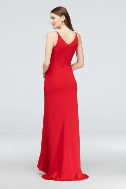 Plunging Scuba Crepe Gown with Ruffled Skirt A21249