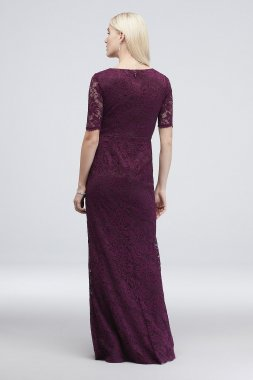 Sequin Lace 3/4 Sleeve Sheath Dress with Cascade Adrianna Papell AP1E203583