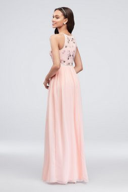 Floral Beaded High-Neck Georgette Tank Dress AP2E203621