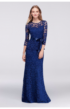 Three-quarter Sleeve Long Two Piece Lace Mother of the Bride Dresses B1506377