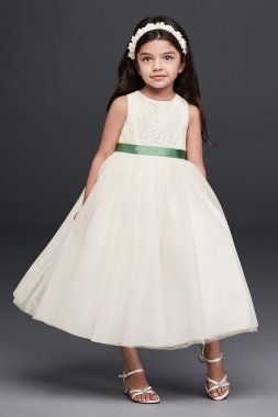 Sleeveless Lace and Mesh Girl's Party Dress OP222 Flower Girl Dress
