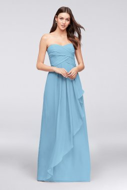 Strapless Crinkle Chiffon Dress with Cascade Skirt Style W10840