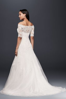 3/4 Sleeves All Over Jeweled Lace WG3734 Style Off the Shoulder Long Wedding Dresses