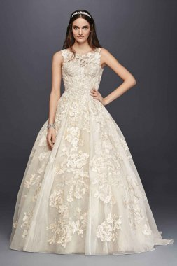 Tank Lace Wedding Dress with Beads Style CWG658