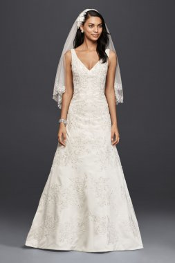 CWG746 Long Mermaid V-Neck Lace A-Line Wedding Dress