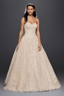 New Arrival Extra Length Strapless Sweetheart Neckline Beaded Lace Embroidered Bridal Gowns 4XLCWG749