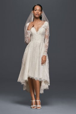 Fashion High-low Long Sleeve Lace Bride Dress with Plunging V Neckline Style CWG770