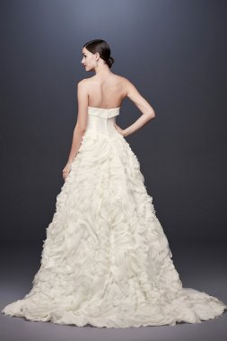 Chiffon Rosette Strapless Ball Gown Wedding Dress CWG805
