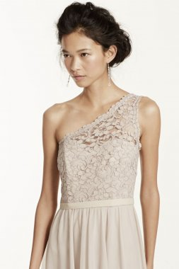 Short One Shoulder Corded Lace Dress Style F15711