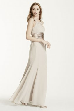Chiffon and Charmeuse Dress with Rounded Neckline Style F12732