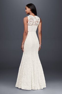 Simple Pattern DB9799 Style Long Lace Trumpet Wedding Dress with Illusion Cutouts