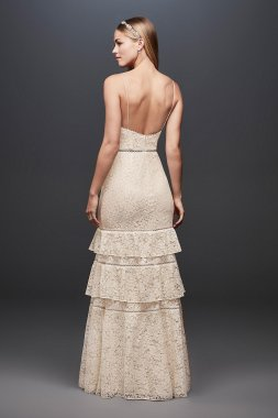 Tiered Lace Sheath Gown with Openwork Insets DS870026
