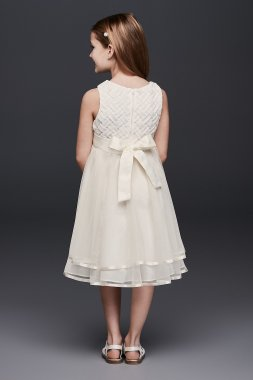 New Style Lattice Bodice Dress with Tiered Tulle Skirt