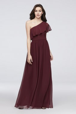 New Chiffon Bridesmaid Dress with One-Shoulder Flounce Reverie EJ8M8683