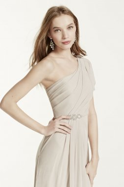 One Shoulder Beaded Dress with Side Slit Style F15519