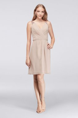 Simple Tank V Neck Above Knee Length Metallic Chiffon F19439M Bridesmaid Dress with Lace Back
