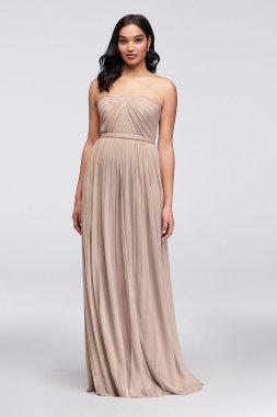 Long Mesh Style-Your-Way 6 Tie Bridesmaid Dress F19515