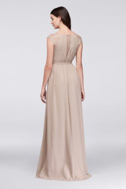 Sleeveless Long A-line Crinkle Chiffon Bridesmaid Dress with Lace Inset Style F19578