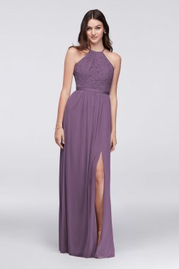 Open-Back Lace and Mesh Bridesmaid Dress Style F19608