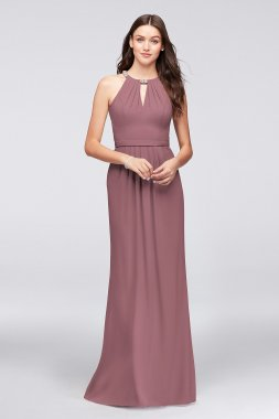 Long A-line Beaded Neckline F19672 Style Hater Neck Crepe Bridesmaid Dress