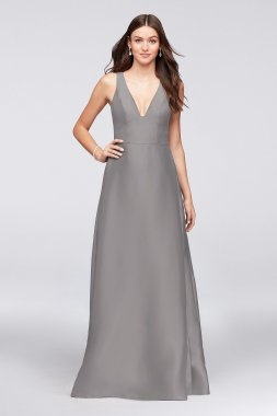 Sexy V-Neck F19734 Style Bridesmaid Dress with Side Pleats