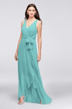 Extra Length New 4XLF19748 Chiffon Ruffle-Trim Faux-Wrap Bridesmaid Dress