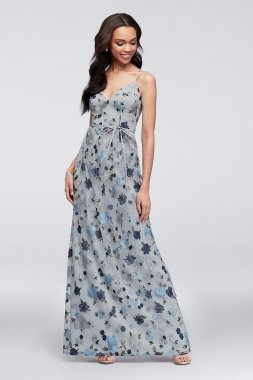 Floral Embroidered Tank Bridesmaid Dress F19797F
