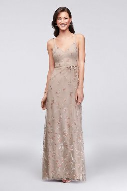 Embroidered Floral Tank Bridesmaid Dress 4XLF19797V