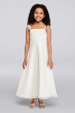 Satin A-line FG9010 Style Flower Girls Gown with Beaded Embroidery