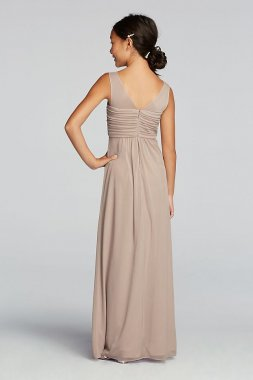 Long Mesh Dress with Illusion Tank Ruched Bodice JB9010