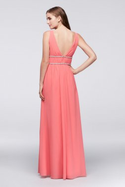 Charming Tank V Neck Long Surplice Bodice Chiffon Gown with Beaded Waist JP2917122