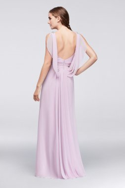 JP2917148 Style Sleeveless A-line Chiffon Long Bridesmaid Dress with Cascading Back