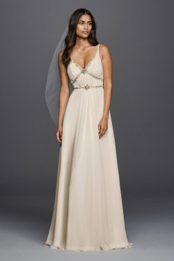 New Fashion JP341612 Style Tank V Neck Long Beads Embellished Bridal Gown